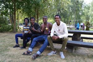 Fyra av deltagarna i årets sommarskola i Borlänge – alla är de mycket nöjda och har också träffat både nya och gamla vänner. Från vänster Abdiasis Omar, Khalid Abdillahi, Addifatha Hussein och Abdirahman Osman.