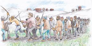 Att bli dömd till att löpa gatlopp var ett hårt straff som ofta slutade med döden och som ibland utdömdes av Gruvrätten. Den arme brottslingen skulle springa mellan två led av arga gruvarbetare som slog densamme allt vad de förmådde. Gatloppet utfördes under hemska skrin av smärta varför en trumslagare hyrdes in för att överrösta delinkventen. Illustration Bo Svärd.