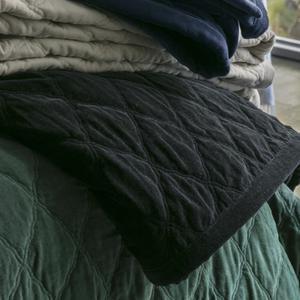 Varm och lyxig bäddning får du med det här quiltade sammetsöverkastet från Lexington. Quilt velvet bedspread black, 2097 kronor på Lidéns Möbler i Säter.