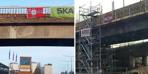 De här bilderna tog en läsare på E18 vid Korsängsmotet klockan 07 på söndagsmorgonen.