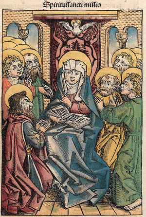 Det första pingstfirandet illustrerat i Hartmann Schedels