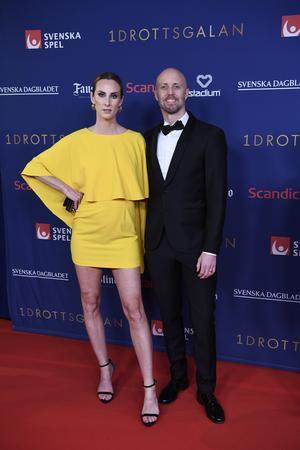Lars Frölander, OS-guldmedaljör i simning som är uppvuxen i Borlänge, kom till Idrottsgalan tillsammans med frun Ida Kjos. Foto: Janerik Henriksson / TT