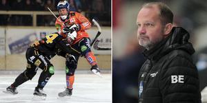 Magnus Fryklund, i duell med Per Hellmyrs på bilden, och tränaren Björn