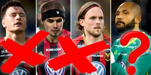 Jamie Hopcutt, Douglas Bergqvist och Tom Pettersson kommer alla lämna ÖFK i vinter. Målvakten Aly Keitas framtid i klubben är ännu oviss. Bild: Bildbyrån.