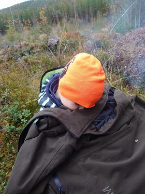 Sonen Åke, 4 år, tyckte det blev lite långtråkigt i skogen i onsdags. Foto: Per Bomark