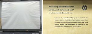 Den gamla projektorduken är från 40-talet och mäter cirka 4 gånger 3 meter. Foto: Västmanlands teater
