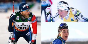 Martin Johnsrud Sundby, Charlotte Kalla och Ebba Andersson. Foto: Markku Ulander/TT, Terje Pedersen/TT och Ulf Palm/TT