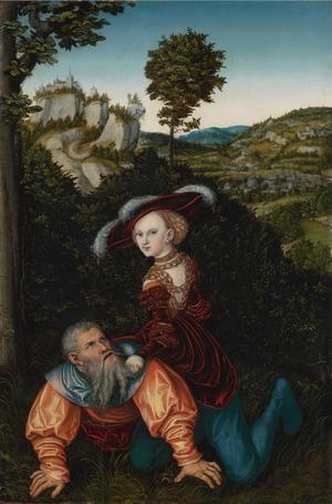 Enligt den medeltida legenden om Phyllis och Aristoteles föll det stora manliga intellektet offer för kvinnans fägring och frestelses och lät sig domineras och ridas av henne. Målning av Lucas Cranach den äldre från 1530.