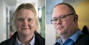 Fotomontage: Mikael Hellsten. Madeleine Wibecker och  Jonas Lindqwist Alteus, båda bussförare och skyddsombud, vittnar om en tuff attityd mot bussförare.