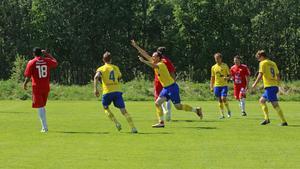 Magnus Theodorsson jublar för Lillhärdals ledningsmål.