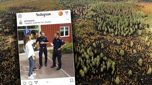 Prinsparet har publicerat bilder från besöket i Älvdalen på sitt Instagram-konto, då de bland annat träffade räddningsledare Johan Szymanski. Bilden är ett montage. Foto: Instagram/Arkivbild