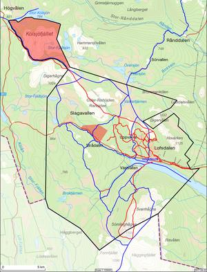 Karta över det nya regleringsområdet för skoter i Lofsdalen. De blå lederna är skoterleder. Röda leder är skidleder och rödmarkerade områden är friåkningsområden. Foto: Härjedalens kommun
