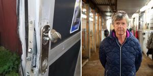 På baksidan hade tjuvarna brutit upp en aluminiumdörr. Bilder: Privat och Mats Olsson
