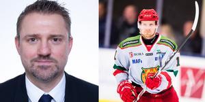 Joakim Persson, KMJ Sports Entertainment (vänster ) representerar den skadade Alexander Hilmersson (höger).
