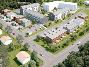 Snart är flerfamiljshusen vid Odenvallen inflyttningsklara. Nu planeras bygget av rad- och parhusen i samma området. Illustration: Boklok