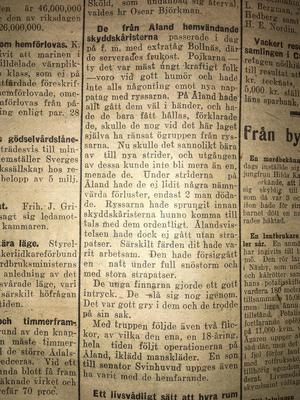 Text i Ljusnan publicerad samma dag som besöket, alltså 25:e februari 1918. Idag skulle vi ha kallat det för