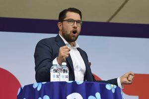 Sverigedemokraternas partiledare Jimmie Åkesson håller tal under politikerveckan i Almedalen.Foto: Henrik Montgomery/TT