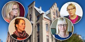 Åsa Wiklund Lång, S, Therese Metz, MP, Helene Åkerlind, L, och Margaretha Wedin, C, kan få svårt att enas i flera frågor.