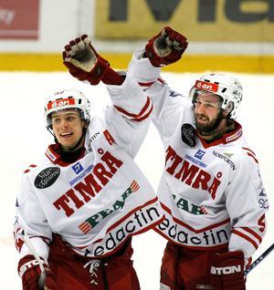 Riku Hahl och Robin Jonsson firar efter att vunnit mot Modo våren 2008. Bild: Håkan Humla/ST Arkiv