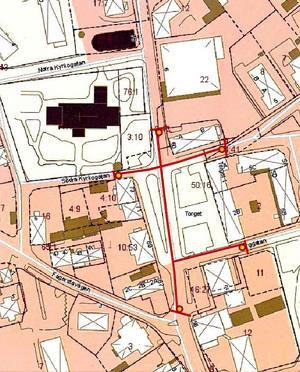 På kartan har kommunen markerat ut vilka vägar som kommer att vara avstängda under Myrbergsrallyt klockan 10-14. Illustration: Norbergs kommun