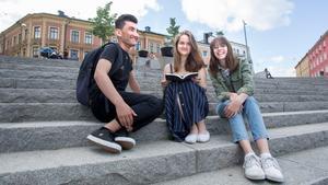 """Ali Zardadi, Christie Gutierrez Haddad och Thess Steneskog som alla går i gymnasiet i Södertälje har under våren blivit publicerade som författare i boken """"Vi ser, vi känner, vi kämpar"""" ."""