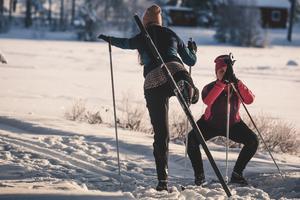 Anna Klint och Sara Thunmarker i sin comfort zone: yogan.