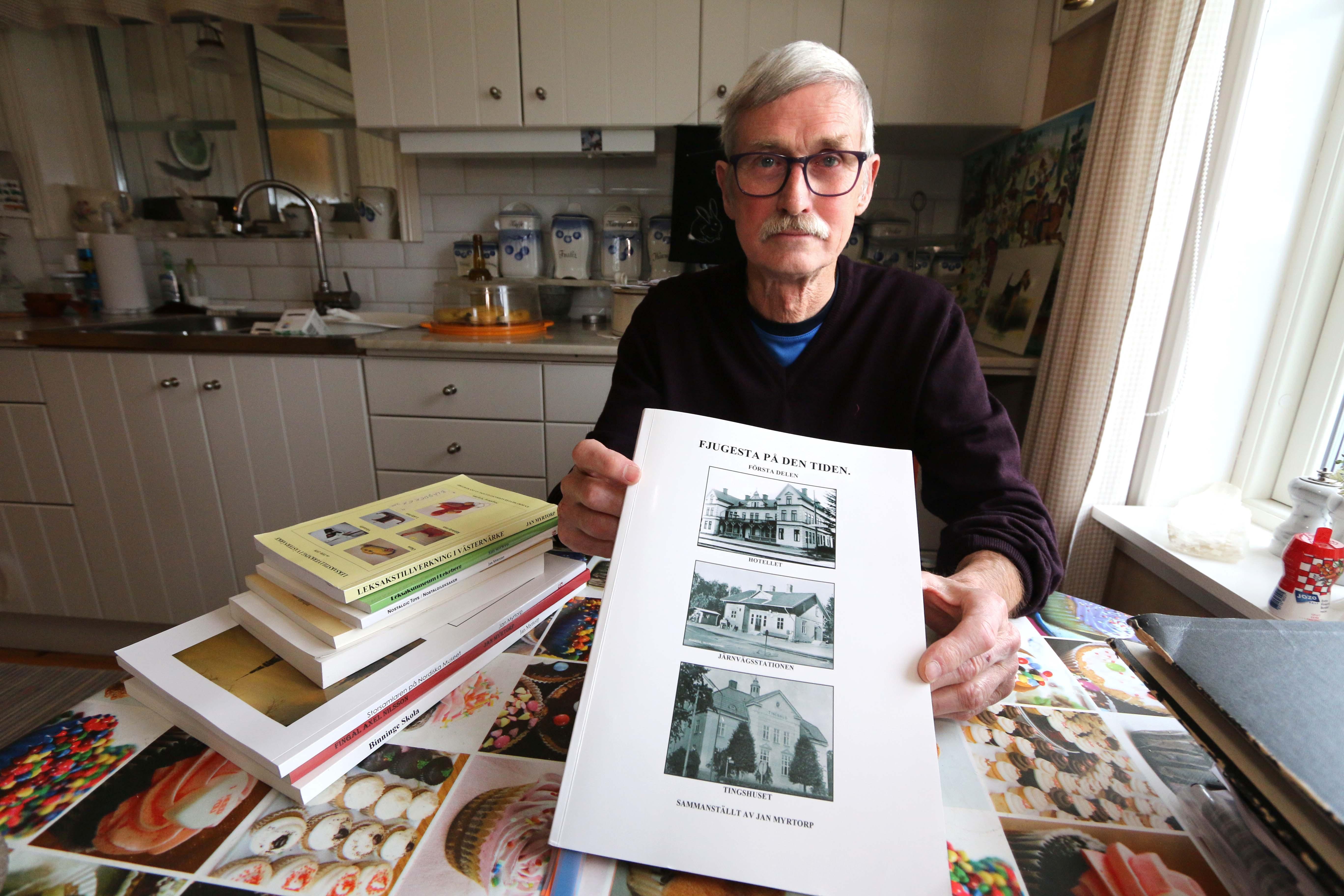 Jan Myrtorp har skrivit ett antal böcker om samlarleksaker och leksakstillverkning men även om Binninge skola och Axel Fingal Nilsson. Senaste boken heter