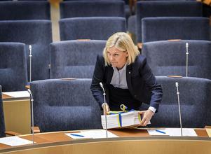 Partikamraterna i Hälsingland är inte nöjda med utdelningen. Magdalena Andersson (S), finansminister. Foto: Anders Wiklund / TT /