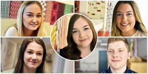 Emma Ållas, Anna Jacobsson, Lovis Andersson, Edvin Karlsson och i mitten Emilia Jonasson. Deras grupp tog sig vidare till skol-SM i juridik.