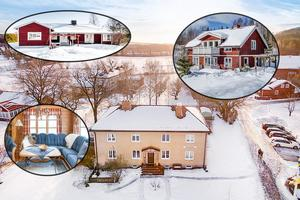 Ett bildmontage med några av de hus i Dalarna som var mest klickade på Hemnet under förra veckan.
