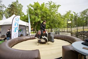 Botan Kazan från Vallbacksskolan testade den mekaniska tjuren.