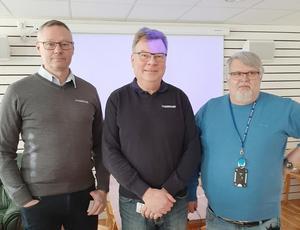 Sortering av sopor stod på programmet, när (från vänster) Roger Lundqvist, Thomas Paulsson från Lundstams och Mikael Lindström från Östersunds kommun, informerade. Foto: Elsy Johansson