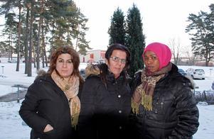 Tara Hawezi, Rabeah Ismael och Habiba Mohamud Ahmed vill inte att ett tiovåningshus byggs på platsen bakom dem, på Liegatan.