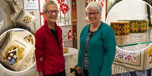 Kristina Larsson och Rut Sundkvist är två av de kreativa kvinnorna som just nu ställer ut på Ljusdals bibliotek.