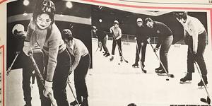 Modo Hockeys damer firar 50 år. Här är ett kollage från en av de allra första träningarna. Bild: ÖA-arkiv