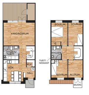 Så här är det tänkt att rummen ska fördelas på de två våningarna som radhusen ska inrymma. Ritning: Ronny Sundquist
