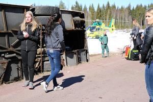 Elever från vård-och omsorgsprogrammet Mora gymnasium agerade skadade på platsen.