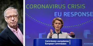 Gunnar Hökmark skriver om EU:s viktiga roll under coronakrisen. Europeiska kommissionens ordförande Ursula von der Leyen, talar vid en mediakonferens i Bryssel om EU:s agerande på krisen efter spridningen av covid-19. Foto: John Thys, AP