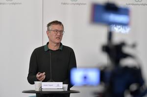 Anders Tegnell, statsepidemiolog Folkhälsomyndigheten, under en av många  myndighetsgemensamma pressträffar om coronapandemin ochcCovid-19.Foto: Anders Wiklund / TT