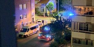 Brandbil och polisbil på plats utanför butiken. Läsarbild: Helga Jansson.