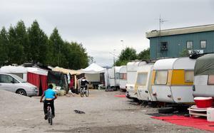 Tiggarlägret i hamnen som kommunen nu tänker flytta.