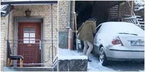 Civilklädda poliser gjorde husrannsakan i villan och bilar utanför bostaden. Foto: Roger Stigell/Torbjörn Granström