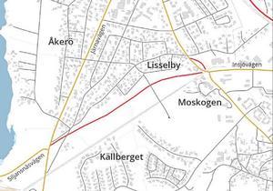Moskogsvägen är tänkt att gå mellan Källberget och Lisselby. (Bild: Leksands kommun)