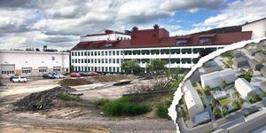 Projektet att skapa nya studentbostäder vid det gamla kommunförrådet tar nästa steg. Bild: Fredrik Söderberg (Skiss i nedre hörnet av Reflex Arkitektur)