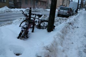 Den 5 februari var det svårcyklat på Trädgårdsgatan!