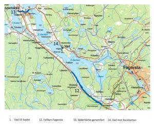 I kommunens cykelplan ryms även cykelstråk för de allra sydligaste områdena, från Fallbyn ner till kommungränsen mot Fagersta. Karta: Tekniska kontoret/Smedjebacken