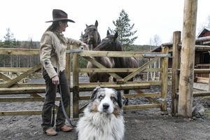 Monique Vermeer tillsammans med sina hästar och hunden Jack som är en australian shepherd.