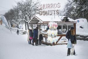 Det var ett riktigt vinterlandskap som Badhusparken bjöd på under fredagen.