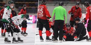 Adam Rudell och Erik Pettersson krockade våldsamt redan efter två minuter.