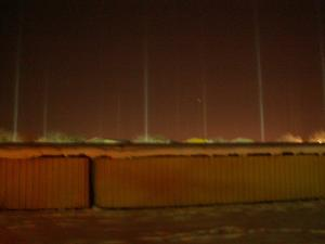 En kall decemberkväll (17 minusgrader), sög rymden upp allt ljus från alla lampor ute. Jag har aldrig sett något liknande, men det dök upp liknande solbilder i tidningen dagarna efter. Tyvärr blev bilden suddig, men det är ändå en häftig bild tycker jag